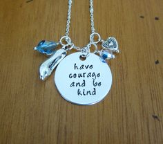 """Cinderella movie """"Have courage and be kind"""" necklace. Swarovski crystals and a """"glass"""" slipper. On etsy by WithLoveFromOC Cinderella Movie, Cinderella Princess, Cinderella 2015, Have Courage And Be Kind, Disney Jewelry, Disney Necklace, Stamped Jewelry, Jewellery Stamping, Disney Outfits"""