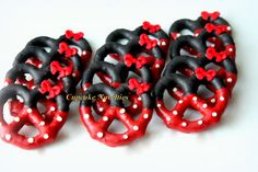 Minnie Mouse Birthday Party Favors Minnie Mouse Cookies Mickey Mouse Clubhouse Chocolate dipped Pretzels Dessert Table Classroom Treat Idea by CupcakeNovelties on Etsy https://www.etsy.com/listing/259041576/minnie-mouse-birthday-party-favors