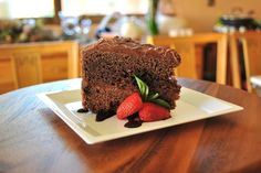 Chocolate Cake - Rich chocolate cake with apricot jam and chocolate frosting.