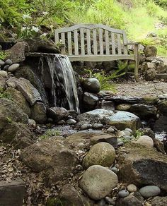 Rustic garden retreat by a waterfall