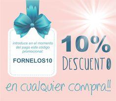 Os recordamos que tenéis un 10% de descuento esperándoos en nuestra web! Sólo tienes que introducir en código promocional FORNELOS10!
