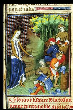 Detail of a miniature of Minerva crowned, instructing men in making armour, while a man uses counters and another plays the flageolet. From Boccaccio, Des cleres et nobles femmes, De claris mulieribus in an anonymous French translation c. 1400-25, French (Paris). British Library MS Royal 20 C V f. 15