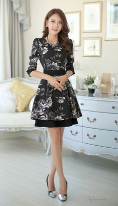 String Set Floral Flare Dress #styleonme #koreanfashion