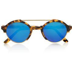 Illesteva Milan IV round-frame metal and acetate mirrored sunglasses (£245) ❤ liked on Polyvore featuring accessories, eyewear, sunglasses, tortoiseshell, round metal sunglasses, blue mirrored sunglasses, round tortoiseshell sunglasses, blue mirror sunglasses and uv protection sunglasses