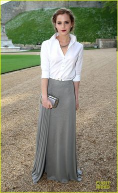 Emma Watson is wearing skirt and shirt by Ralph Lauren, shoes and bag by Roger Vivier, Repossi ear cuffs, ear cover and necklace by Ana Khouri, and Monica Vinader ring, arriving for a dinner to celebrate the work of The Royal Marsden hosted by the Duke of Cambridge Prince William held at Windsor Castle on Tuesday (May 13) in Windsor, England.