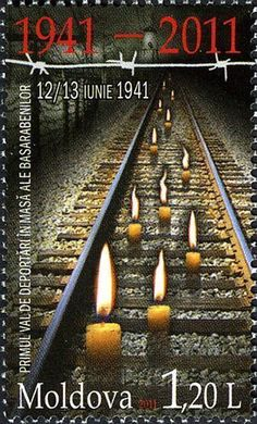 Moldova Postage Stamps (Commemorative) 2011 № 755 | Railway Tracks and Candles | Issue: 70th Anniversary of the First Wave of Mass, Forced Deportations from Bessarabia