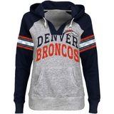 Broncos Store : Denver Broncos Ladies Huddle V-Neck Hoodie - Ash/Navy Blue