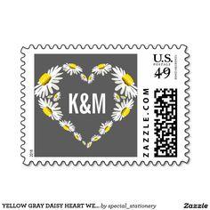 YELLOW GRAY DAISY HEART WEDDING   MONOGRAM STAMP #MONOGRAM #DAISY #HEART #POSTAGE #LOVE