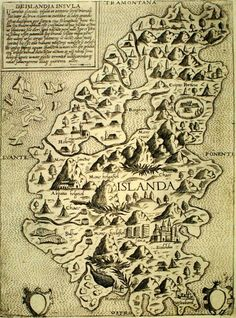 Antique map of Iceland.