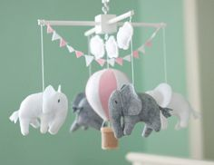 Baby-Mobil Elefant-Mobile Hot Air Balloon Mobil von NicoAndMaddie