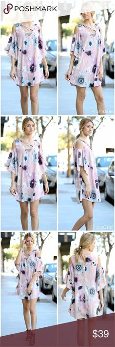Criss cross ruffle sleeve open shoulder dress!  Shoulder cutout ruffled half sleeve crisscross floral dress in delicate pink - pale blue and lavender Dresses