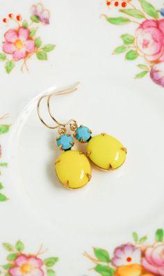 Yellow Turquoise RHINESTONE Earrings $22.00