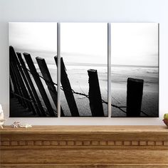 What Are We Going To Do - Large Canvas Art, Rusty Fence, Sand Dunes, Wood, Great Lakes, Triptych, Black & White, Panel, Paths, Decor, Decorations