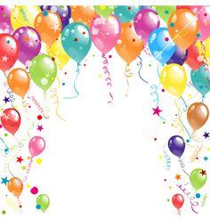 Color beautiful party balloons vector by Tolchik on VectorStock® - Geburtstag Happy Birthday Frame, Birthday Frames, Happy Birthday Messages, Happy Birthday Images, Birthday Photos, Birthday Clipart, Birthday Invitations, Birthday Cards, Wedding Invitation Background