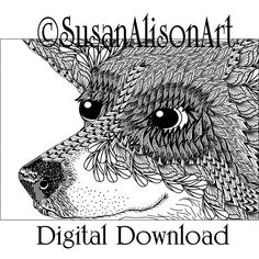 Printable corgi coloring page digi stamp traditional line art instant digital download dog print greeting cards Conan barbarian Susan Alison