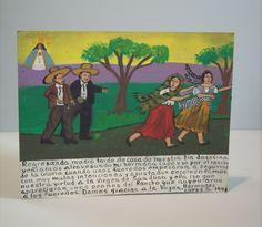 RETABLO Exvoto Folk Art Religious Painting Chasing the Girls
