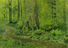 Footpath in a Forest of Ferns - painted by Isaac Levitan (1860-1900), Russian landscape artist