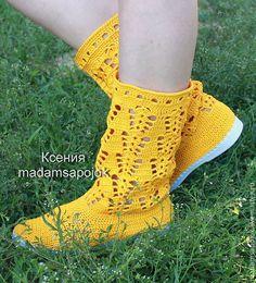 Купить Вязаные сапожки (хлопок) - жёлтый, Вязаные сапоги, вязаная обувь, сапожки летние