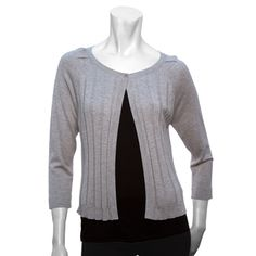 August Silk's long sleeve ribbed flyaway cardigan has a single button at the neck to keep it secured. Layer over your favorite Signature Style top! Available now on Augustsilk.com for $44.00