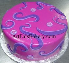 Pink and purple girl's birthday cake. It had a My Little Pony toy topper put on at the party by arteatsbakery, via Flickr