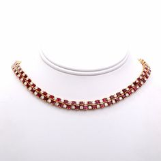 French 21.00ct Diamond Ruby Gold Necklace by DoverJewelry on Etsy