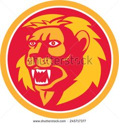 Illustration of an angry lion big cat head roaring looking to the side set inside circle on isolated background done in retro style. #lion #retro #illustration