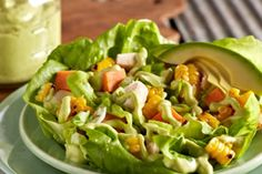 BBQ Chicken Salad with Avocado Poblano Dressing -    A creamy avocado poblano dressing accents this easy-to-make BBQ chicken salad created by New Orleans chef Susan Spicer. http://www.californiaavocado.com/recipe-details/view/31800/bbq-chicken-salad-with-avocado-poblano-dressing