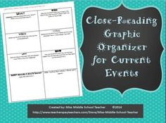 Close Reading Current Events Organizer: I use this in my middle school science classes to teach disciplinary literacy skills and close reading of expository text. This same form could be adapted to social studies or math articles as well. This includes the student organizer and a brief lesson plan explaining how I teach with it/use it. I teach annotations of articles along with this as well. It is a great way to help students understand an author's central idea, a focus of the CCSS.