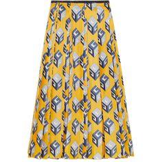 Gucci Pleated printed silk-twill midi skirt (23.620 ARS) ❤ liked on Polyvore 41b4986160af