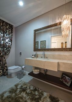 Lavabos com cortinas – veja decorações clássicas e luxuosas com essa tendência!