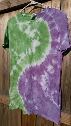Check out this item in my Etsy shop https://www.etsy.com/listing/199201742/green-and-purple-tie-dye-shirt