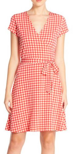 Pretty gingham check wrap dress