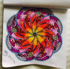Coloured By Frances Kay. This is from inky mandalas by Helen Elliston. Done with prismacolors and marco raffine and renoirs. Blended with gel pens.