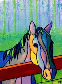 On the fence of AEMgallery on Etsy - Painting Arte Pop, Stained Glass Patterns, Horse Art, Mosaic Art, Painted Rocks, Folk Art, Glass Art, Art Projects, Original Paintings