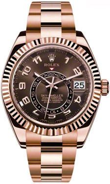 Rolex Sky Dweller Chocolate Dial 18K Rose Gold Automatic Men's Watch 326935CHAO
