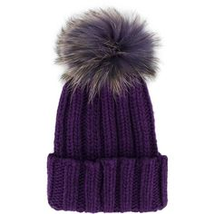 Inverni raccoon fur pom pom beanie ($253) ❤ liked on Polyvore featuring accessories, hats, pompom hat, pom pom hat, pom beanie, purple beanie hat and inverni