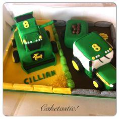 Combine Harvester & John Deere tractor cake!  https://www.facebook.com/pages/Caketastic/163765000425745?ref=tn_tnmn