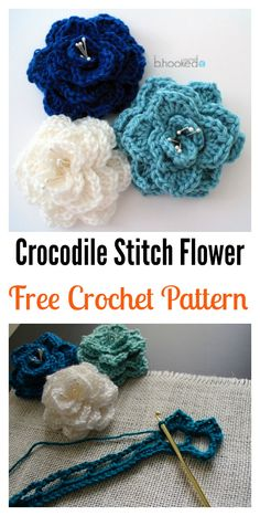 Crochet Flower Patterns Crochet Crocodile Stitch Flower Free Pattern - Crocodile stitch is a clever way to create the effect of overlapping feathers, scales or petals. Here are some Beautiful Crocodile Stitch Crochet Patterns. Crochet Crocodile Stitch, Stitch Crochet, Bag Crochet, Crochet Gifts, Cute Crochet, Crochet Motif, Crochet Patterns, Crochet Appliques, Crochet Beanie