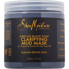 SheaMoisture African Black Soap Clarifying Mud Mask ($14.99)--It smells like clay, which is surprisingly pleasant. My skin started to appear more even toned after 2 uses.