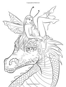 Fairy Companions Coloring Book - Fairy Romance, Dragons and Fairy Pets (Fantasy Art Coloring by Selina) Selina Fenech