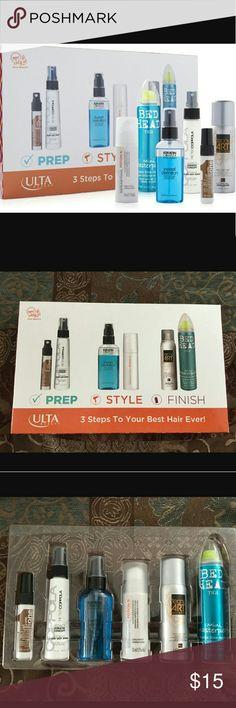 ulta 3 steps to your best hair ever! Brand new, never used premium products  include: 1- Prep    -uniqone coconut hair treatment 0.3 fl.oz   -Peter Coppola 2 fl.oz  2- style    -keratin complex 2 fl.oz   -Sebastian 1.7 fl.oz  3-finish   -L'oreal professionel 1.8 oz.   -TIGI 2.4 oz.  Great to travel  instructions in the back of the box. sealed ulta Makeup