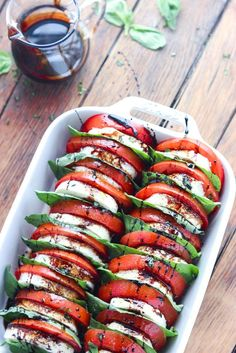 Light and easy appetizer or salad, loaded with tomatoes, fresh mozzarella, basil and balsamic reduction @littlebroken