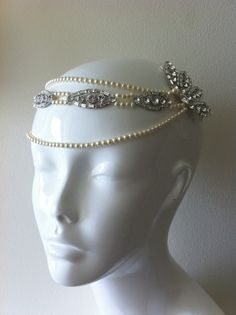 1920s Vintage Flapper girl style forehead band with by fabledreams, £160.00