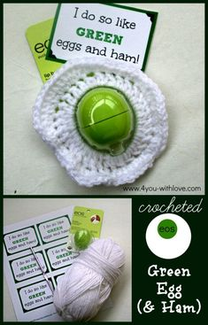 crocheted green egg #drseusscrafts #craftlightning #eoslipbalm