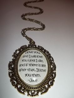 Jace and Clary City of Bones Mortal Instruments Book Quote Pendant. €14.00, via Etsy.