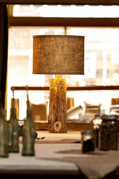 Cedar Lamp Base With Burlap Shade : Jane Sweet Jane