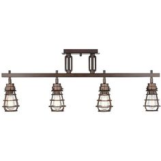 ProTrack Pro Track Bendlin Industrial 4-Light Bronze Track Fixture ($200) ❤ liked on Polyvore featuring home, lighting, ceiling lights, track lighting, bronze track light, industrial hanging lamp, industrial track lighting, industrial lighting and industrial ceiling lights