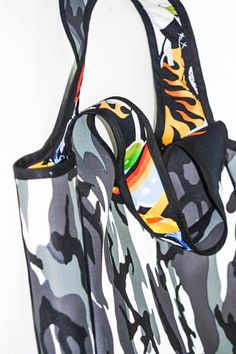 Large vinyl tote in camouflage print / OOAK tote with by HYDROXIDE, $95.00