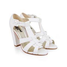 0abb991ed67 Arty white faux leather bold t-bar sandal