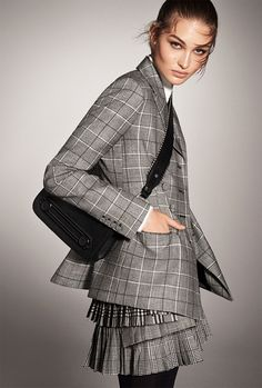 Grace Elizabeth poses in checkered prints for Zara's fall-winter 2017 campaign